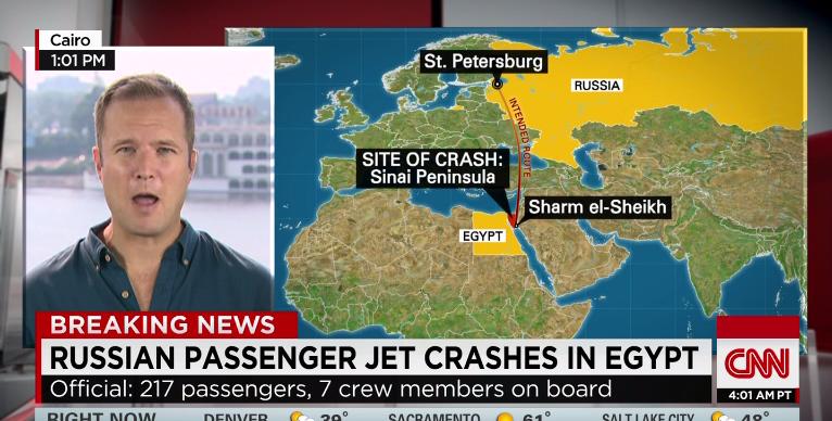 ロシアの旅客機、エジプトで墜落 エアバスA321型機
