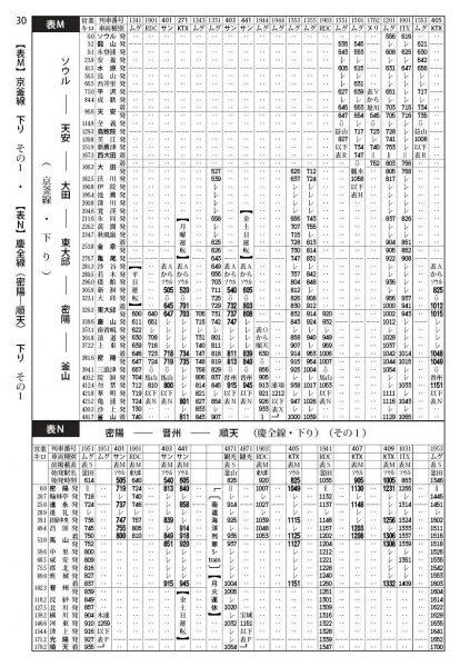 韓国鉄道時刻表