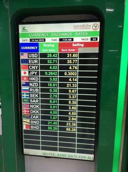 バンコク・スワンナプーム空港の両替レート