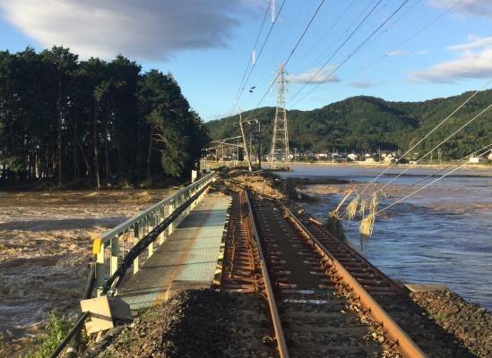 両毛線 大平下~栃木間 永野川橋りょう 橋台背面流出