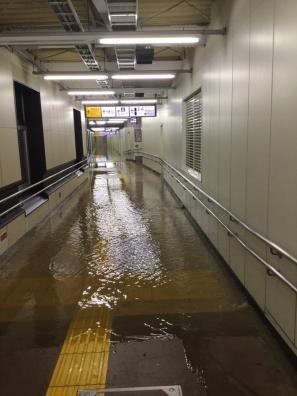横須賀線 武蔵小杉駅 駅構内冠水