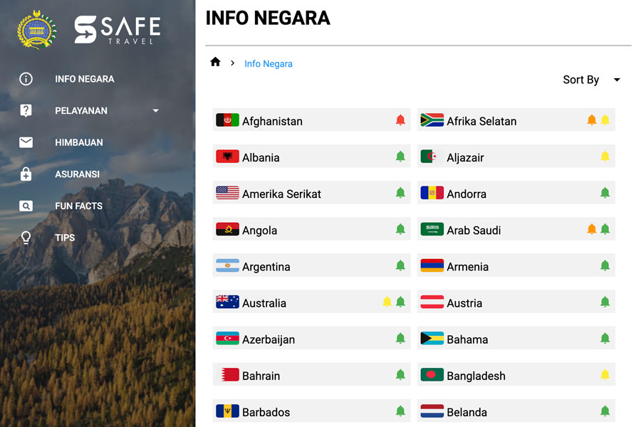 インドネシア外務省(渡航情報)