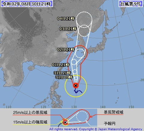 台風9号(30日午後9時)